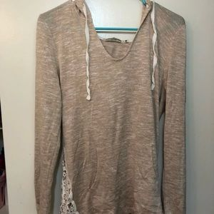 Sheer tan hoodie with lace/crotchet trim